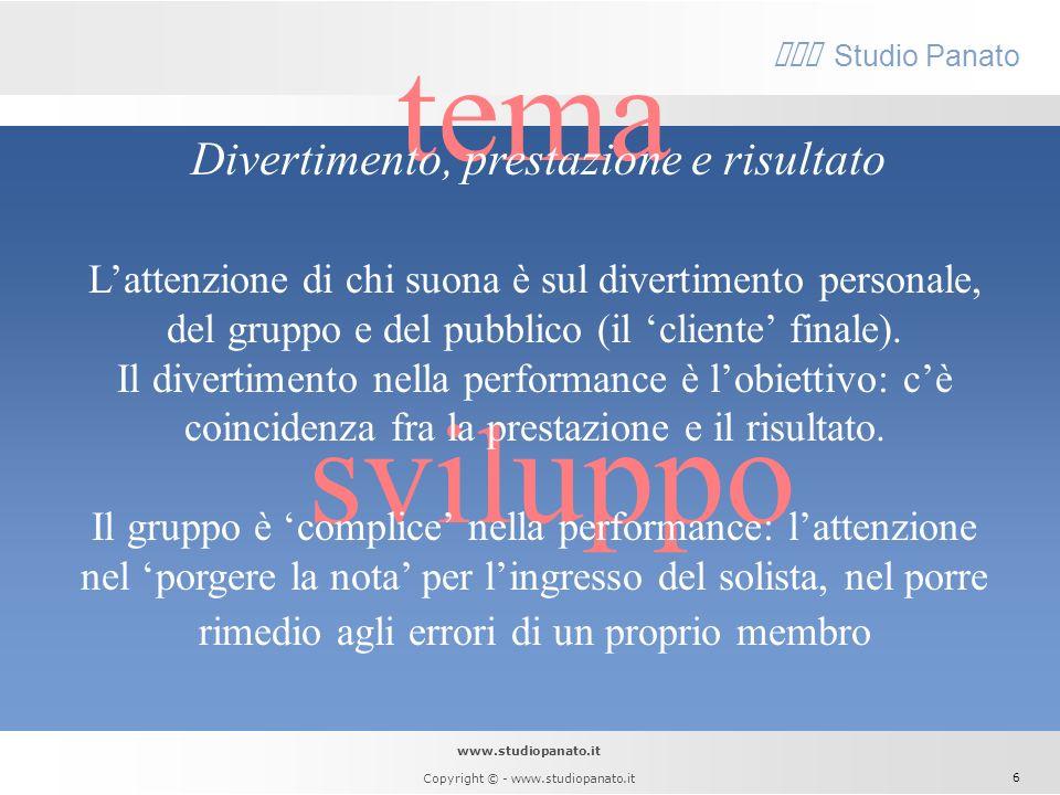 www.studiopanato.it Copyright © - www.studiopanato.it 5 tema sviluppo Concorrenza e fiducia Le orchestre jazz sono organizzazioni protese verso l'inno