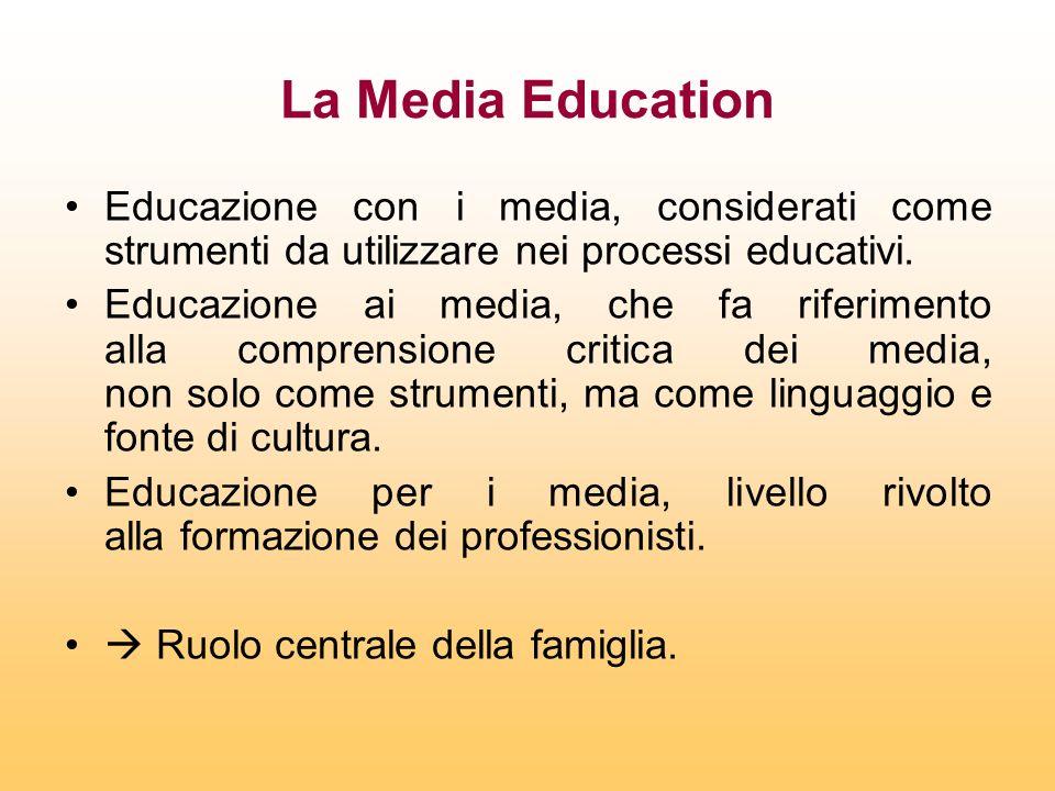 La Media Education Educazione con i media, considerati come strumenti da utilizzare nei processi educativi. Educazione ai media, che fa riferimento al