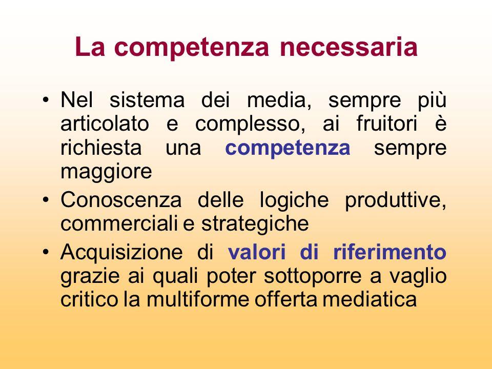 La competenza necessaria Nel sistema dei media, sempre più articolato e complesso, ai fruitori è richiesta una competenza sempre maggiore Conoscenza d