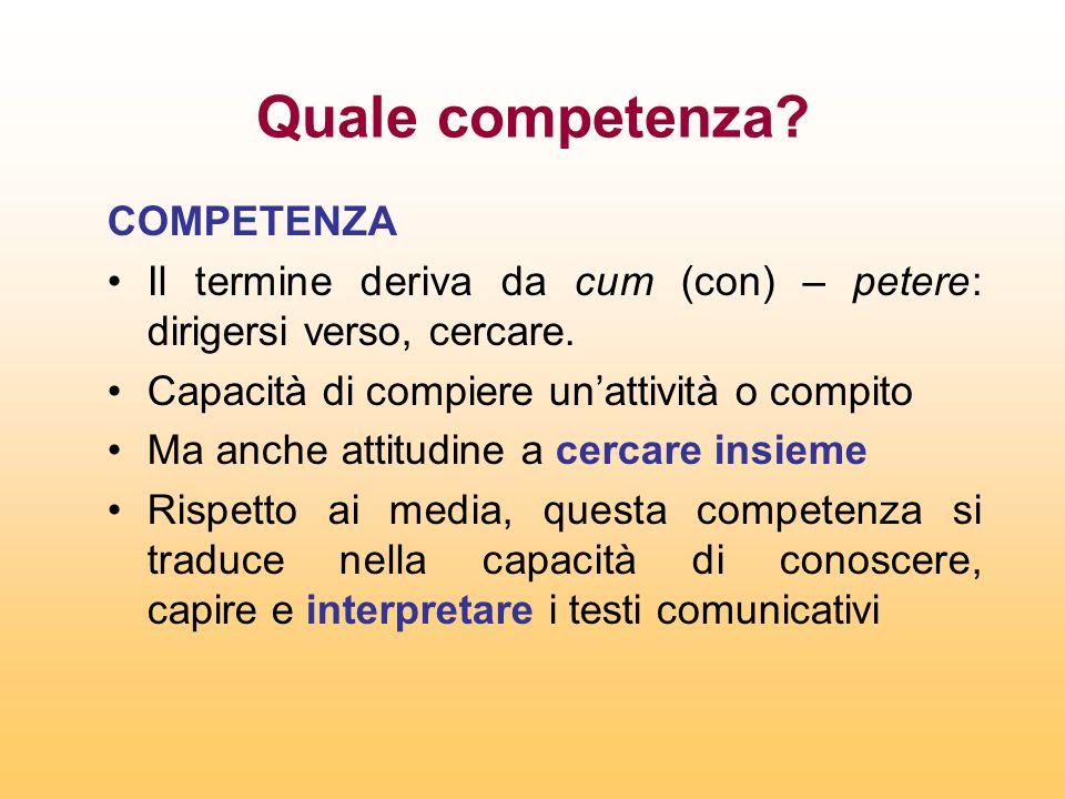 Quale competenza? COMPETENZA Il termine deriva da cum (con) – petere: dirigersi verso, cercare. Capacità di compiere unattività o compito Ma anche att