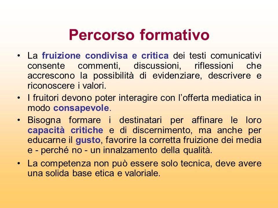 Percorso formativo La fruizione condivisa e critica dei testi comunicativi consente commenti, discussioni, riflessioni che accrescono la possibilità d
