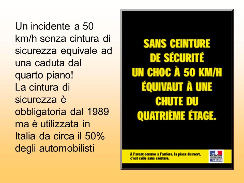 Un incidente a 50 km/h senza cintura di sicurezza equivale ad una caduta dal quarto piano! La cintura di sicurezza è obbligatoria dal 1989 ma è utiliz