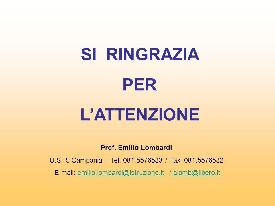 SI RINGRAZIA PER LATTENZIONE Prof. Emilio Lombardi U.S.R. Campania – Tel. 081.5576583 / Fax 081.5576582 E-mail: emilio.lombardi@istruzione.it / alomb@