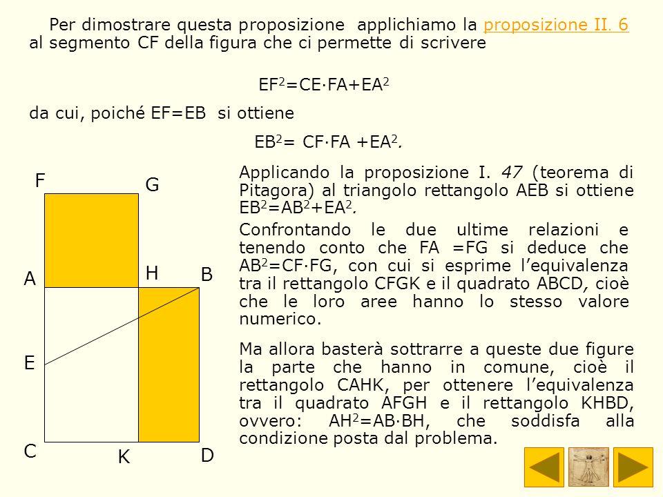 A B C D E F G H K Per dimostrare questa proposizione applichiamo la proposizione II. 6 al segmento CF della figura che ci permette di scrivereproposiz
