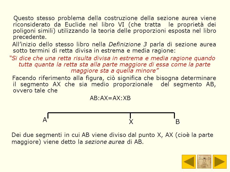 Questo stesso problema della costruzione della sezione aurea viene riconsiderato da Euclide nel libro VI (che tratta le proprietà dei poligoni simili)