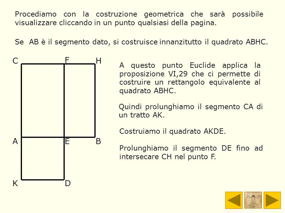 A questo punto Euclide applica la proposizione VI,29 che ci permette di costruire un rettangolo equivalente al quadrato ABHC. AEB KD C F H Se AB è il