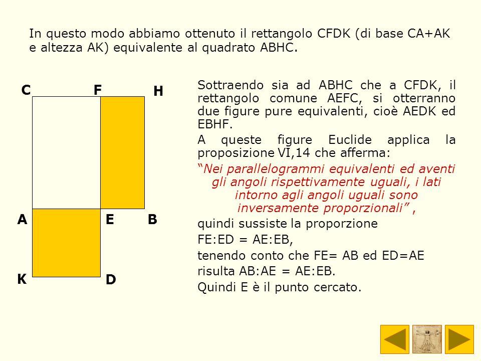 Sottraendo sia ad ABHC che a CFDK, il rettangolo comune AEFC, si otterranno due figure pure equivalenti, cioè AEDK ed EBHF. A queste figure Euclide ap
