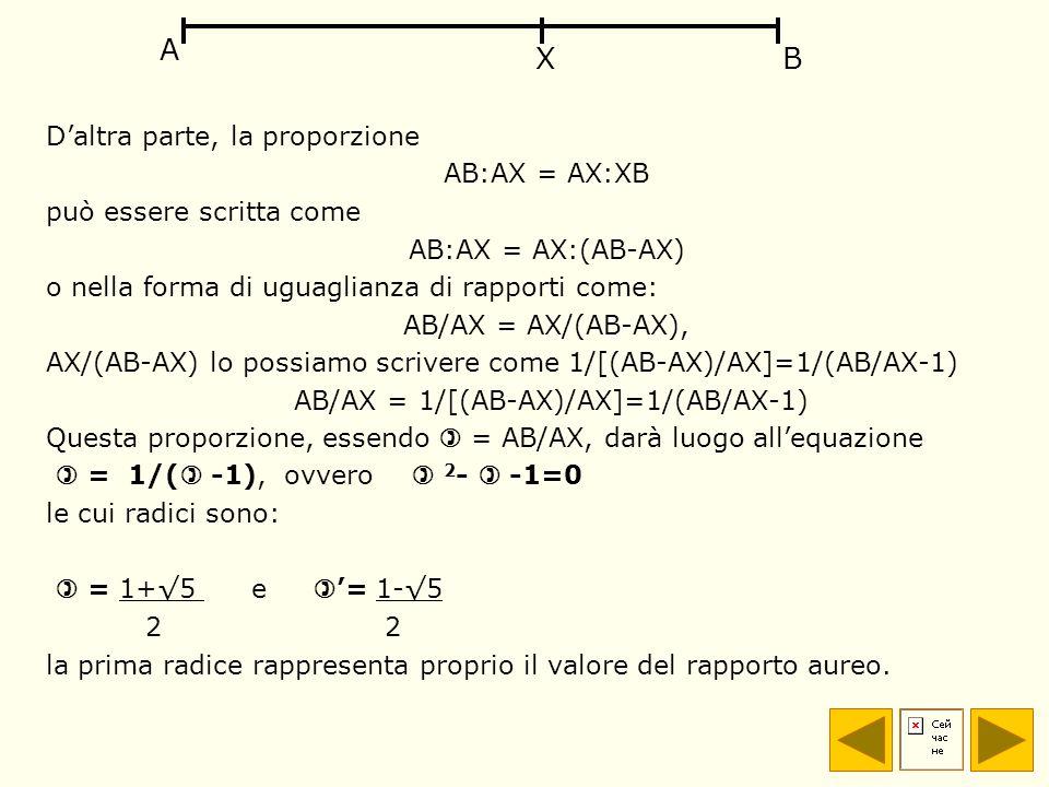 Daltra parte, la proporzione AB:AX = AX:XB può essere scritta come AB:AX = AX:(AB-AX) o nella forma di uguaglianza di rapporti come: AB/AX = AX/(AB-AX