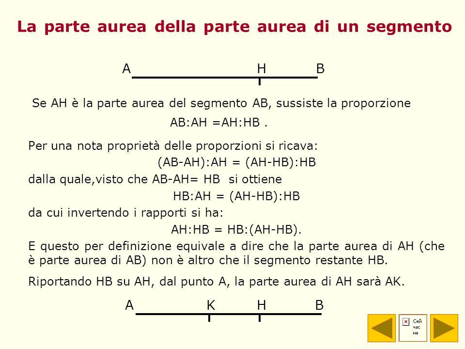 La parte aurea della parte aurea di un segmento Per una nota proprietà delle proporzioni si ricava: (AB-AH):AH = (AH-HB):HB dalla quale,visto che AB-A