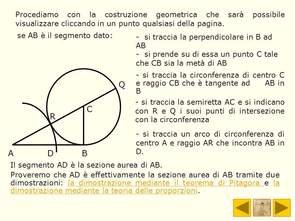 Il segmento AD è la sezione aurea di AB. Proveremo che AD è effettivamente la sezione aurea di AB tramite due dimostrazioni: la dimostrazione mediante