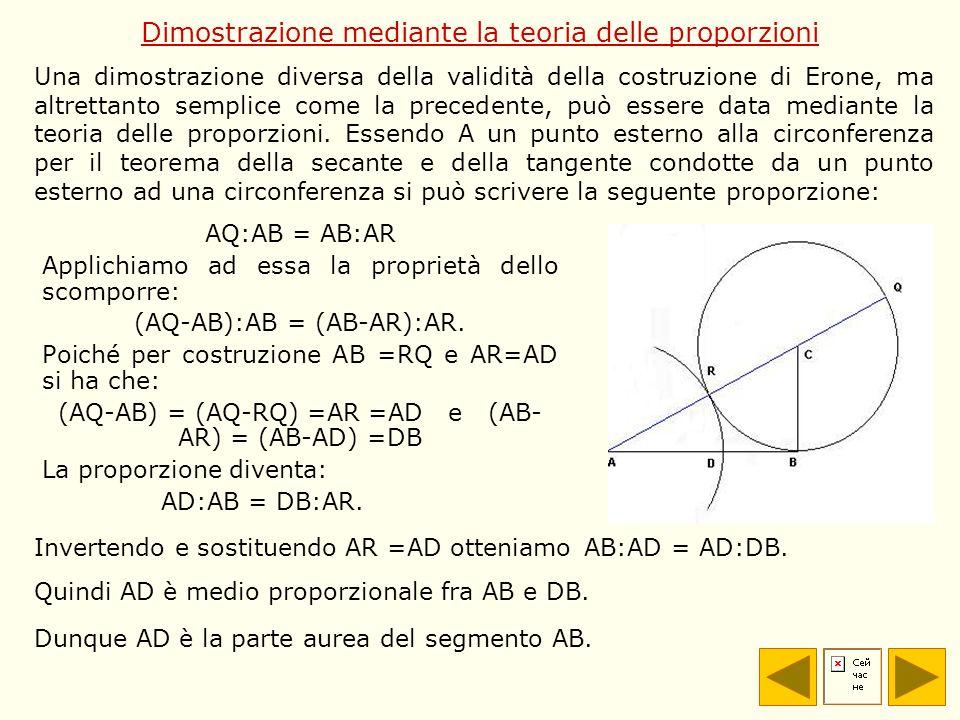 Dimostrazione mediante la teoria delle proporzioni AQ:AB = AB:AR Applichiamo ad essa la proprietà dello scomporre: (AQ-AB):AB = (AB-AR):AR. Poiché per