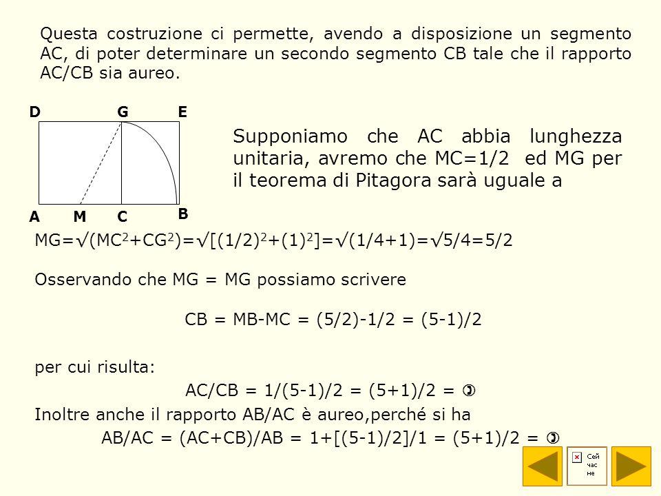 Questa costruzione ci permette, avendo a disposizione un segmento AC, di poter determinare un secondo segmento CB tale che il rapporto AC/CB sia aureo