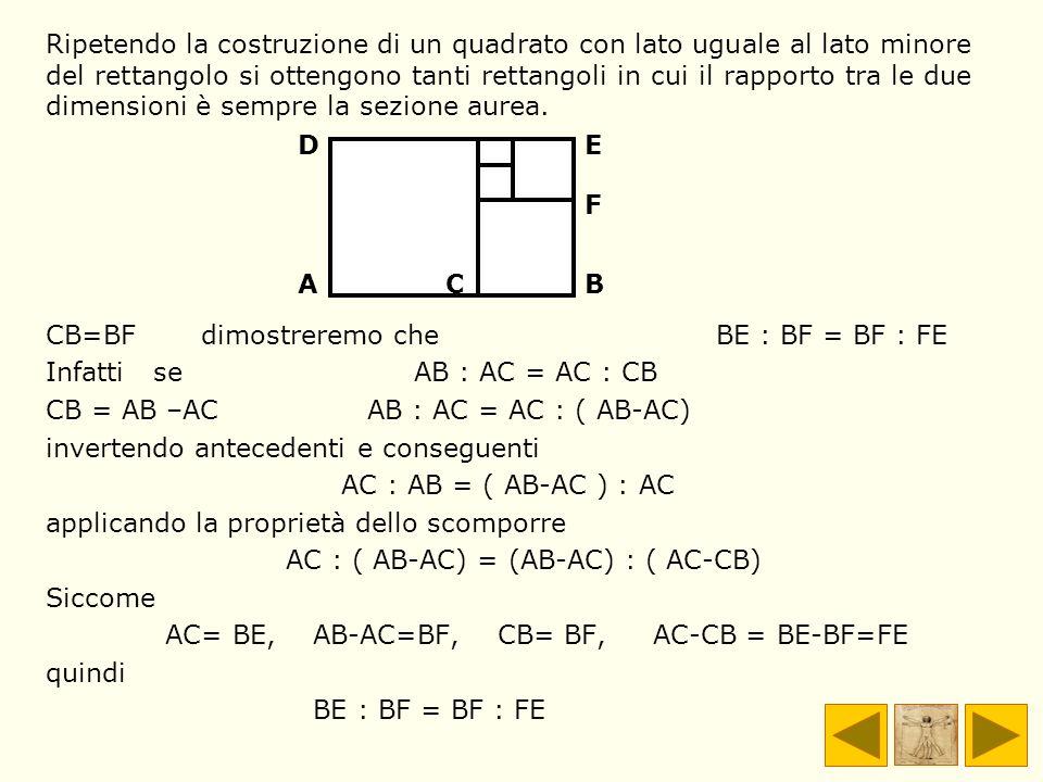 Ripetendo la costruzione di un quadrato con lato uguale al lato minore del rettangolo si ottengono tanti rettangoli in cui il rapporto tra le due dime