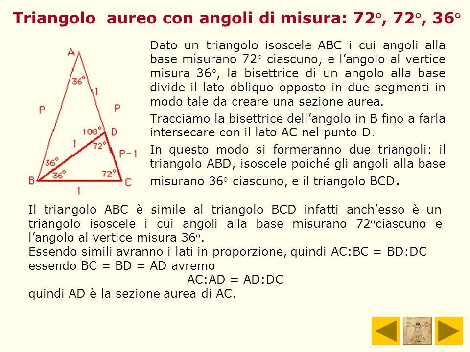 Triangolo aureo con angoli di misura: 72°, 72°, 36° Dato un triangolo isoscele ABC i cui angoli alla base misurano 72° ciascuno, e langolo al vertice