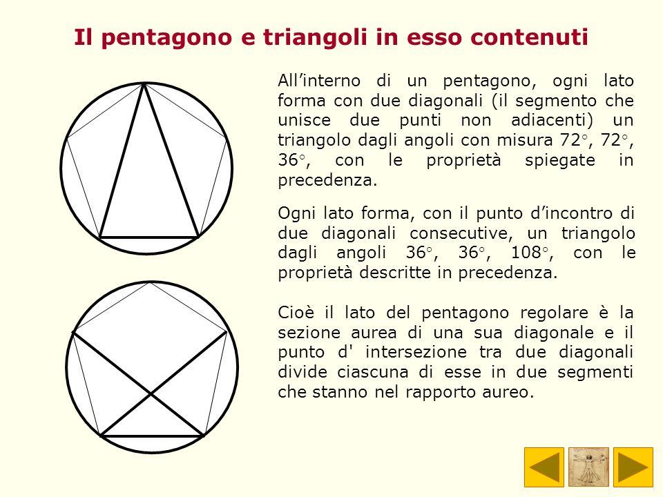 Il pentagono e triangoli in esso contenuti Allinterno di un pentagono, ogni lato forma con due diagonali (il segmento che unisce due punti non adiacen