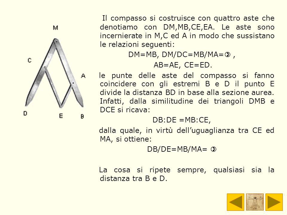 Il compasso si costruisce con quattro aste che denotiamo con DM,MB,CE,EA. Le aste sono incernierate in M,C ed A in modo che sussistano le relazioni se