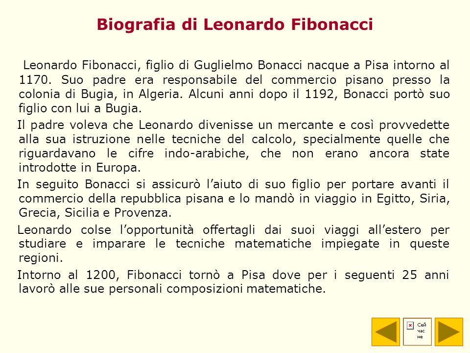 Biografia di Leonardo Fibonacci Leonardo Fibonacci, figlio di Guglielmo Bonacci nacque a Pisa intorno al 1170. Suo padre era responsabile del commerci