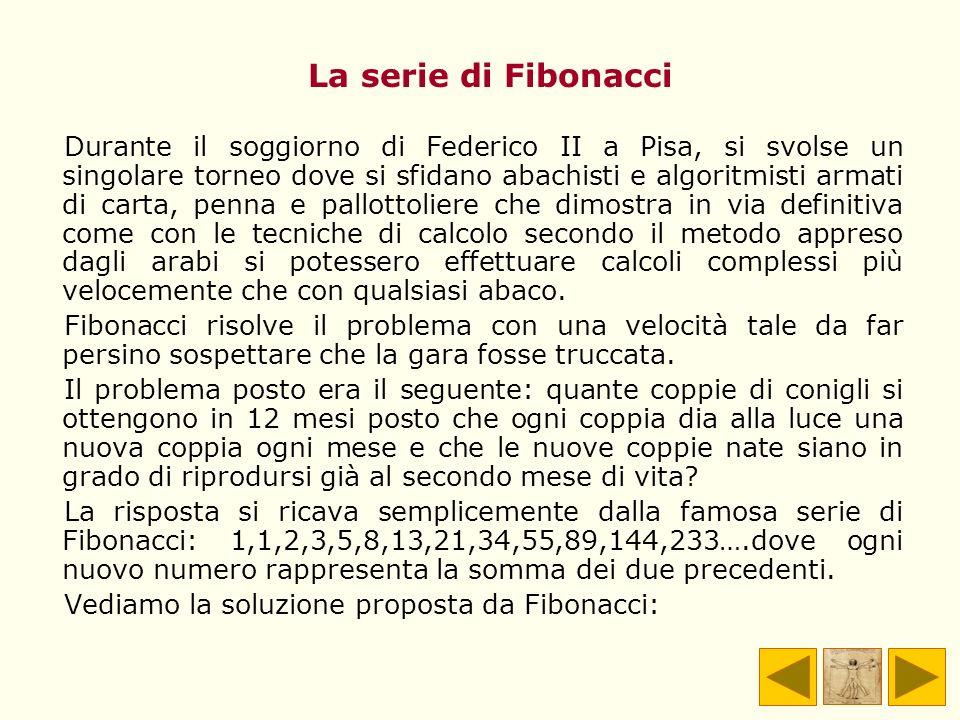 La serie di Fibonacci Durante il soggiorno di Federico II a Pisa, si svolse un singolare torneo dove si sfidano abachisti e algoritmisti armati di car