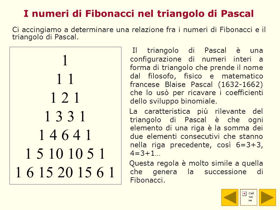 I numeri di Fibonacci nel triangolo di Pascal Il triangolo di Pascal è una configurazione di numeri interi a forma di triangolo che prende il nome dal