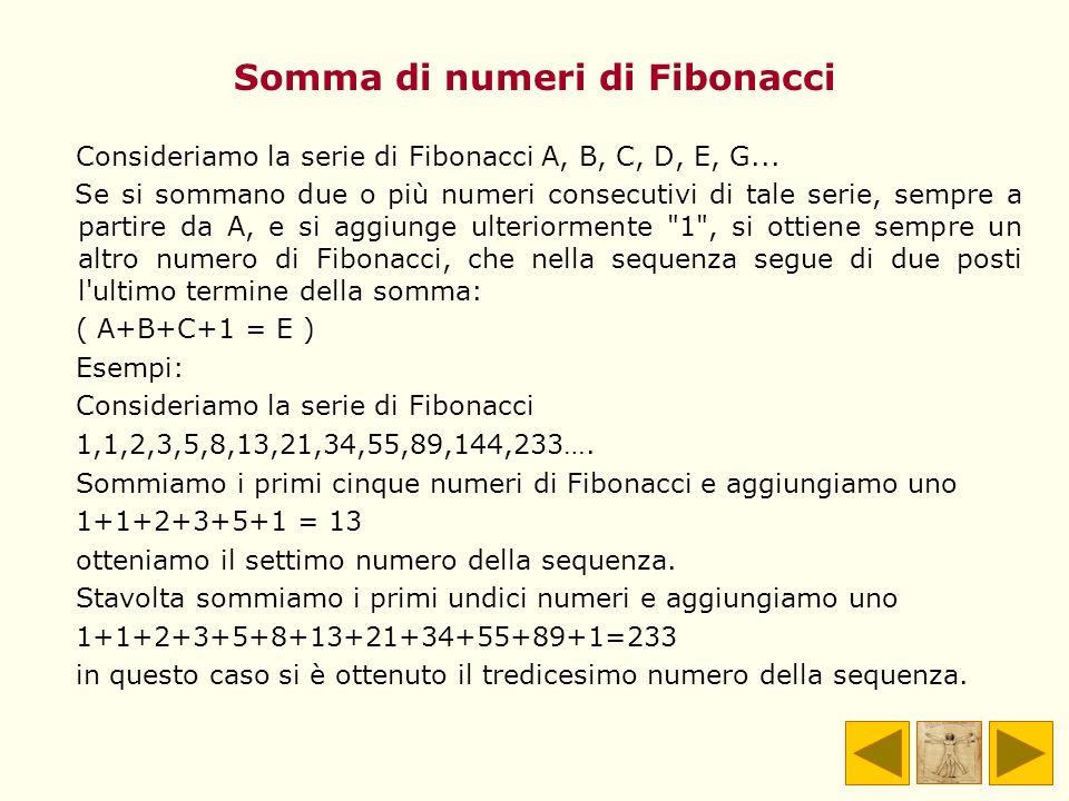 Somma di numeri di Fibonacci Consideriamo la serie di Fibonacci A, B, C, D, E, G... Se si sommano due o più numeri consecutivi di tale serie, sempre a