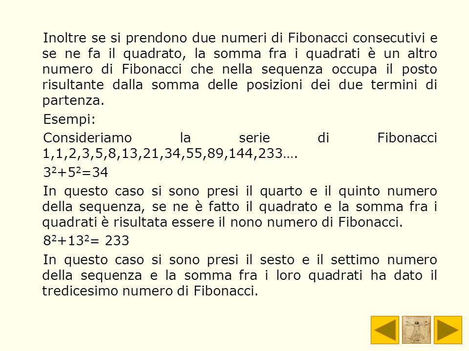 Inoltre se si prendono due numeri di Fibonacci consecutivi e se ne fa il quadrato, la somma fra i quadrati è un altro numero di Fibonacci che nella se