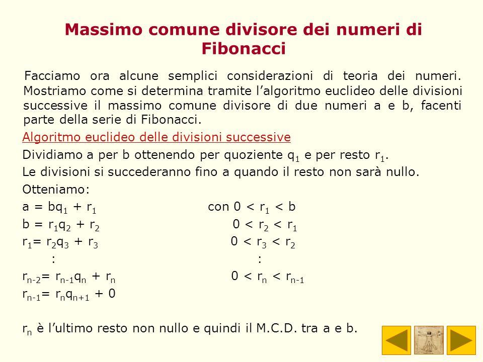 Massimo comune divisore dei numeri di Fibonacci Facciamo ora alcune semplici considerazioni di teoria dei numeri. Mostriamo come si determina tramite