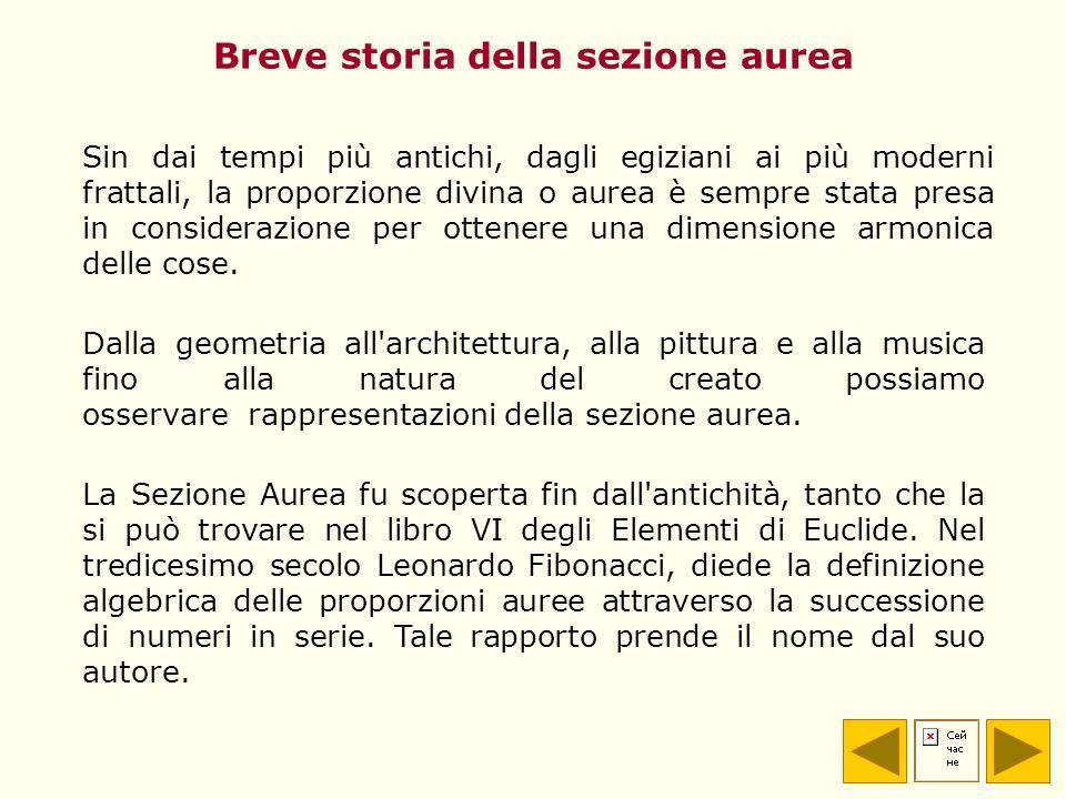 La Sezione Aurea fu scoperta fin dall'antichità, tanto che la si può trovare nel libro VI degli Elementi di Euclide. Nel tredicesimo secolo Leonardo F