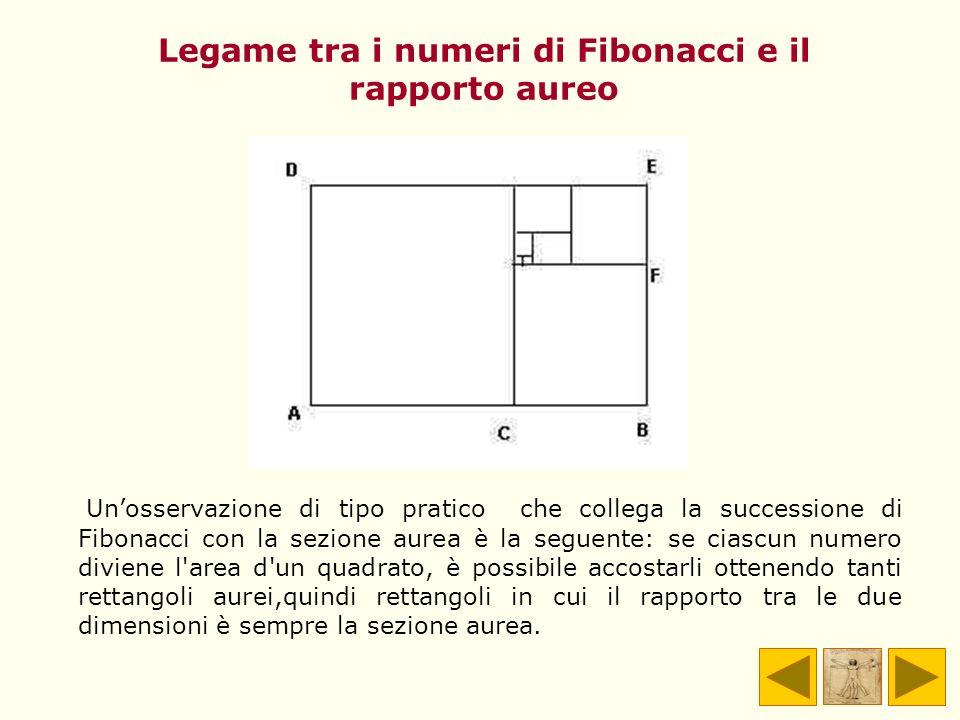 Legame tra i numeri di Fibonacci e il rapporto aureo Unosservazione di tipo pratico che collega la successione di Fibonacci con la sezione aurea è la
