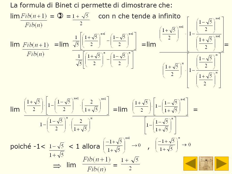 La formula di Binet ci permette di dimostrare che: lim = = con n che tende a infinito lim =lim =lim = lim =lim = poiché -1< < 1 allora, lim =