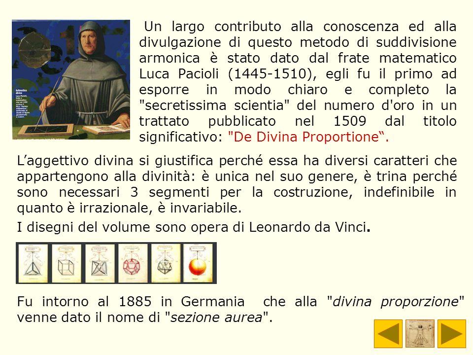 Un largo contributo alla conoscenza ed alla divulgazione di questo metodo di suddivisione armonica è stato dato dal frate matematico Luca Pacioli (144