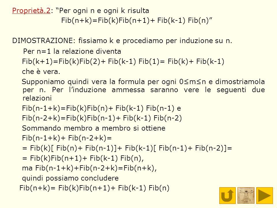 Proprietà.2: Per ogni n e ogni k risulta Fib(n+k)=Fib(k)Fib(n+1)+ Fib(k-1) Fib(n) DIMOSTRAZIONE: fissiamo k e procediamo per induzione su n. Per n=1 l