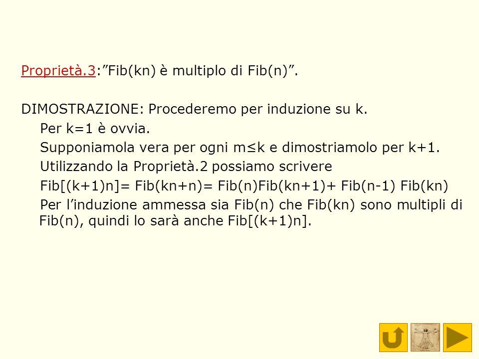 Proprietà.3:Fib(kn) è multiplo di Fib(n). DIMOSTRAZIONE: Procederemo per induzione su k. Per k=1 è ovvia. Supponiamola vera per ogni mk e dimostriamol