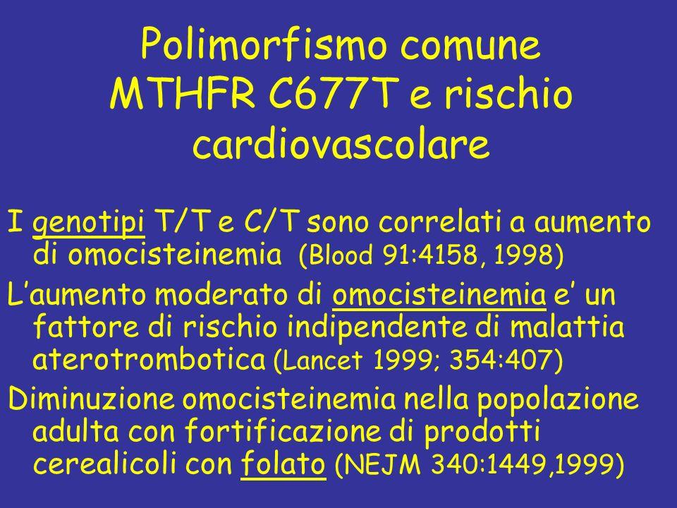 Polimorfismo comune MTHFR C677T e rischio cardiovascolare I genotipi T/T e C/T sono correlati a aumento di omocisteinemia (Blood 91:4158, 1998) Laumen