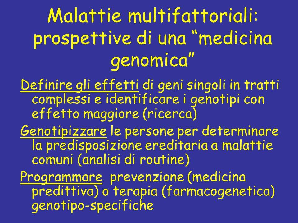 Malattie multifattoriali : prospettive di una medicina genomica Definire gli effetti di geni singoli in tratti complessi e identificare i genotipi con