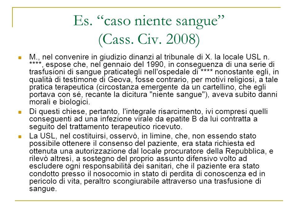 Es. caso niente sangue (Cass. Civ. 2008) M., nel convenire in giudizio dinanzi al tribunale di X. la locale USL n. ****, espose che, nel gennaio del 1