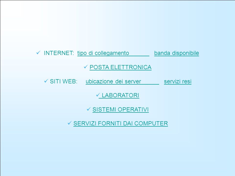 (Tipologia di collegamento) type of connection type of connection (tipologia collegamento) Number (Valore) % about answered school (% su scuole rispondenti ) %about connect school (% su scuole collegate internet) Optical fibre (Fibra ottica) 322,012,09 ISDN 61538,5340,2 Network PSTN (rete telefonica) 1408,779,15 ADSL/xDSL 93558,5861,11 Satellite 10,060,07 Come si può vedere il collegamento più usato dalle scuole è la linea ADSL perché è più facile e veloce.