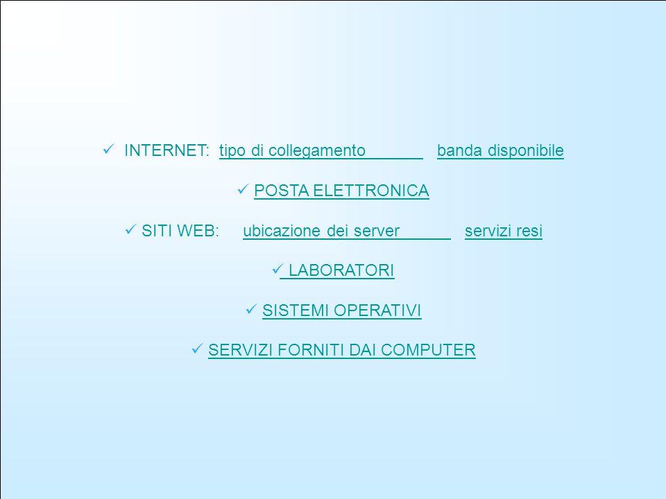 INTERNET: tipo di collegamento banda disponibiletipo di collegamento banda disponibile POSTA ELETTRONICA SITI WEB: ubicazione dei server servizi resiubicazione dei server servizi resi LABORATORI SISTEMI OPERATIVI SERVIZI FORNITI DAI COMPUTER