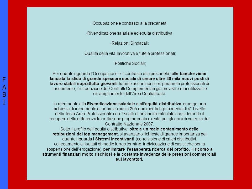 FABIFABI -Occupazione e contrasto alla precarietà; -Rivendicazione salariale ed equità distributiva; -Relazioni Sindacali; -Qualità della vita lavorat