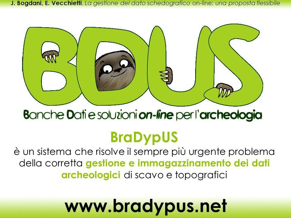 J. Bogdani, E. Vecchietti, La gestione del dato schedografico on-line: una proposta flessibile www.bradypus.net BraDypUS è un sistema che risolve il s