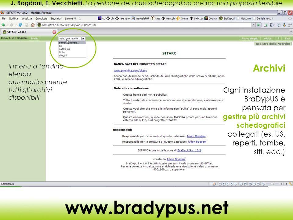 J. Bogdani, E. Vecchietti, La gestione del dato schedografico on-line: una proposta flessibile www.bradypus.net Archivi Ogni installazione BraDypUS è