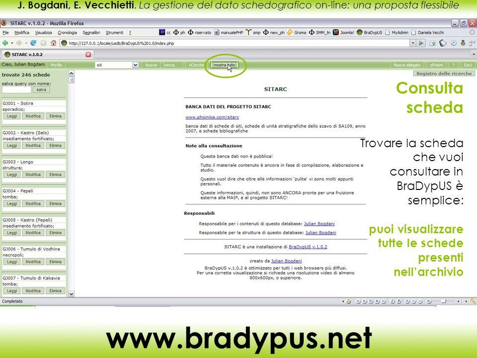 J. Bogdani, E. Vecchietti, La gestione del dato schedografico on-line: una proposta flessibile www.bradypus.net Consulta scheda Trovare la scheda che