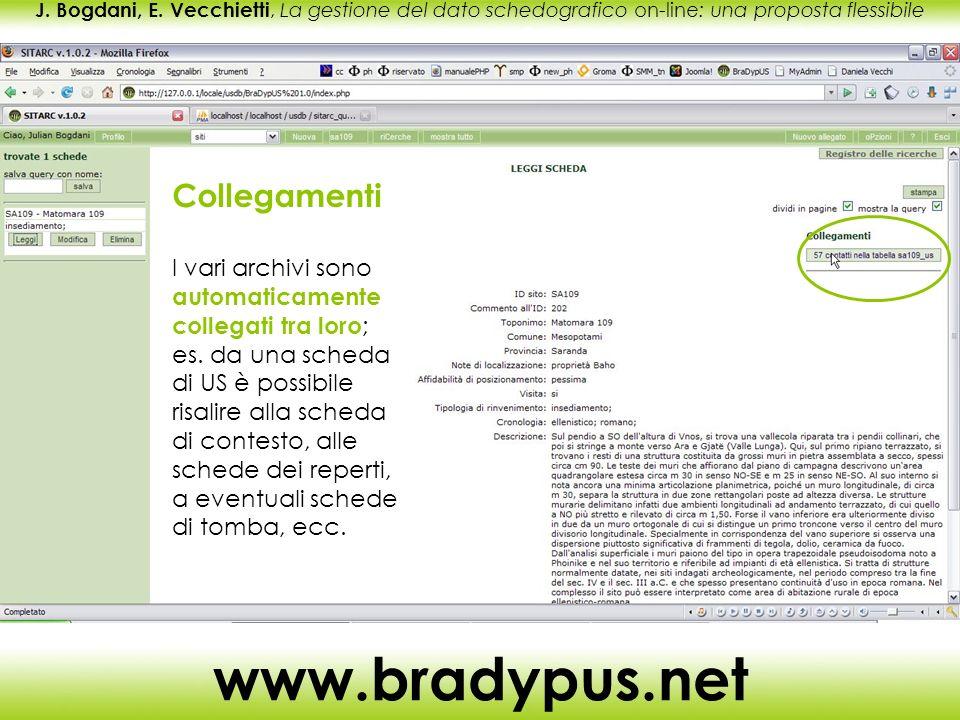 J. Bogdani, E. Vecchietti, La gestione del dato schedografico on-line: una proposta flessibile www.bradypus.net Collegamenti I vari archivi sono autom