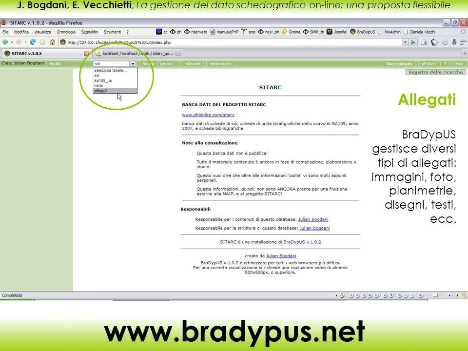 J. Bogdani, E. Vecchietti, La gestione del dato schedografico on-line: una proposta flessibile www.bradypus.net Allegati BraDypUS gestisce diversi tip