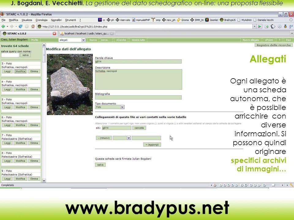 J. Bogdani, E. Vecchietti, La gestione del dato schedografico on-line: una proposta flessibile www.bradypus.net Allegati Ogni allegato è una scheda au