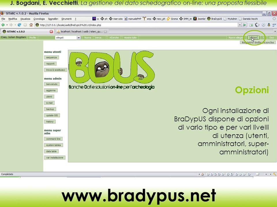 J. Bogdani, E. Vecchietti, La gestione del dato schedografico on-line: una proposta flessibile www.bradypus.net Opzioni Ogni installazione di BraDypUS