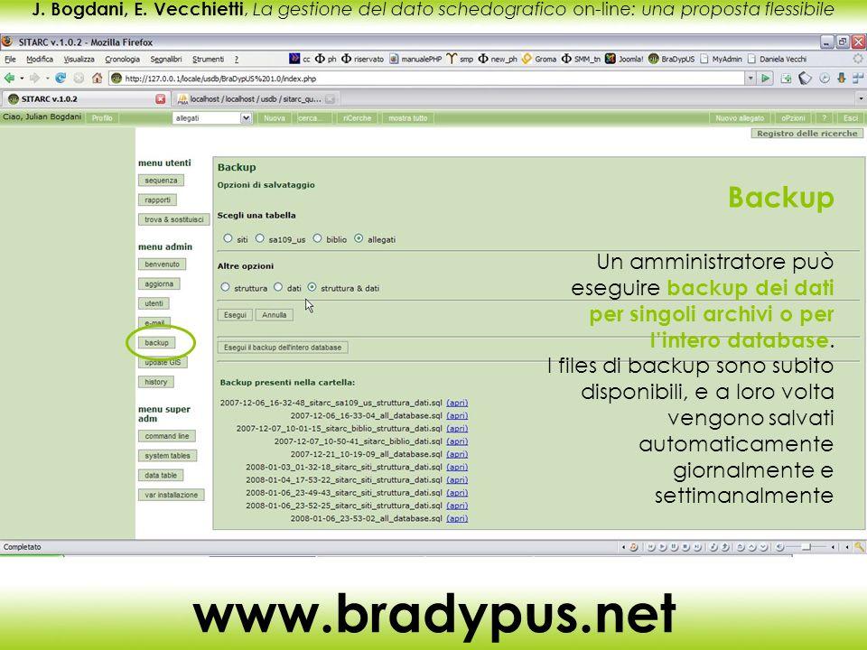 J. Bogdani, E. Vecchietti, La gestione del dato schedografico on-line: una proposta flessibile www.bradypus.net Backup Un amministratore può eseguire