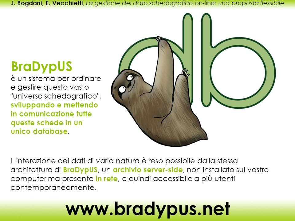 J. Bogdani, E. Vecchietti, La gestione del dato schedografico on-line: una proposta flessibile www.bradypus.net BraDypUS è un sistema per ordinare e g