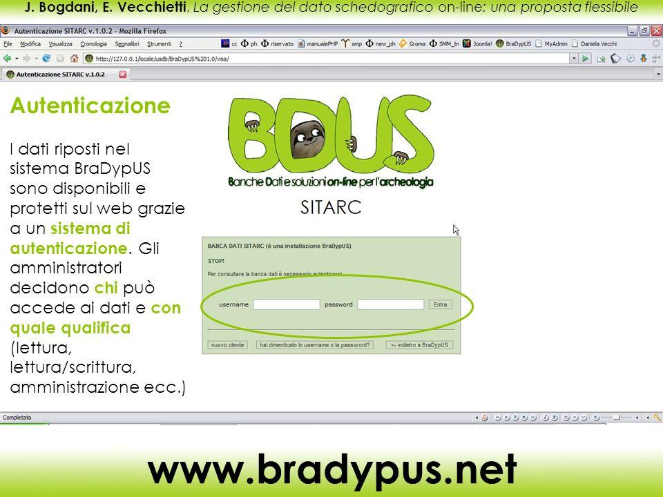 J. Bogdani, E. Vecchietti, La gestione del dato schedografico on-line: una proposta flessibile www.bradypus.net Autenticazione I dati riposti nel sist