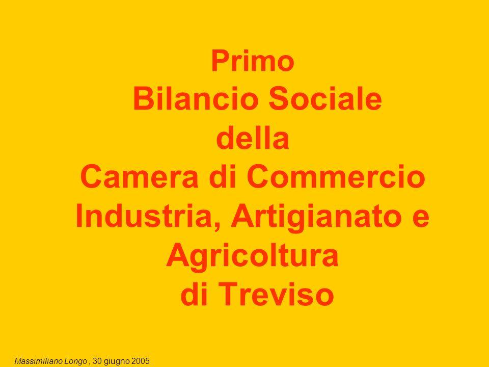 Massimiliano Longo, 30 giugno 2005 2 I quattro obiettivi del Bilancio Sociale della CCIAA di TV: 1)Rendicontazione, per misurare la capacità dellEnte di realizzare la propria missione attraverso le proprie linee di azione, i servizi, i progetti.