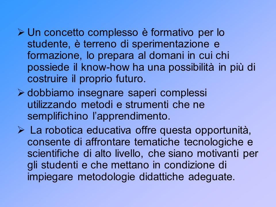 Un concetto complesso è formativo per lo studente, è terreno di sperimentazione e formazione, lo prepara al domani in cui chi possiede il know-how ha